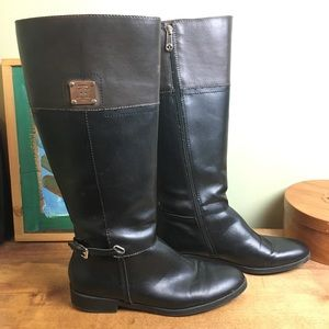 Tommy Hilfiger tall riding boots women's two tone